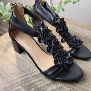 Patrizia Heel Sandals 38 Black Floral Design
